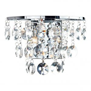 DAR JES0950 Jester Double Wall Light Crystal/Polished Chrome Finish Switched