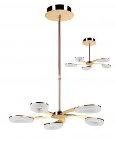 Mantra M8272 Juno Telescopic 5 Light 30W LED 3000K, 2700lm, Satin Gold/Frosted Acrylic/Gold, 3yrs Warranty