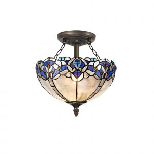 Kaka, Tiffany 30cm Shade, Blue/Clear Crystal c/w Semi Ceiling Kit, 2 x E27, Aged Antique Brass