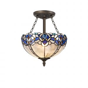 Kaka, Tiffany 30cm Shade, Blue/Clear Crystal c/w Semi Ceiling Kit, 3 x E27, Aged Antique Brass