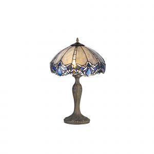 Kaka, Tiffany 40cm Shade, Blue/Clear Crystal c/w 56cm Curved Table Lamp, 2 x E27, Aged Antique Brass