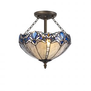 Kaka, Tiffany 40cm Shade, Blue/Clear Crystal c/w Semi Ceiling Kit, 3 x E27, Aged Antique Brass