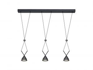 Nu Kloft Bar Pendant 3 Light, 3 x 3W LED, 3000K, 350lm, Sand Black/Grey, 3yrs Warranty