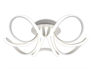 Mantra M6037K Knot Blanco Ceiling 74cm Round 5 Looped Arms 60W LED 4000K, 4800lm, Dimmable Silver/Frosted Acrylic/Polished Chrome, 3yrs Warranty