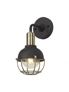 Nu Lutie Wall Lamp, 1 Light E27, IP65, Matt Black/Brushed Bronze, 2yrs Warranty
