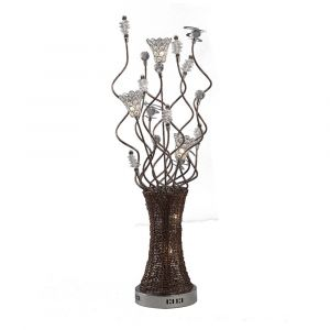 Diyas Home IL70395 (DH) Kristal Table Lamp 5 Light Polished Chrome/Coffee/Silver/Crystal