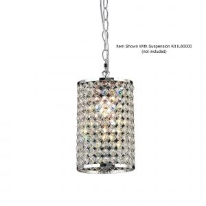 Diyas IL60002 Kudo Cylinder Non-Electric SHADE ONLY Polished Chrome/Crystal
