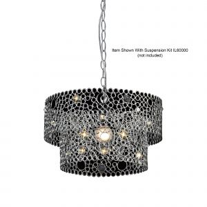 Diyas IL60003  Kudo Tiered Non-Electric SHADE ONLY Polished Chrome/Crystal
