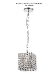Diyas IL60009 Kudo Crystal Square Non-Electric SHADE ONLY Polished Chrome/Crystal