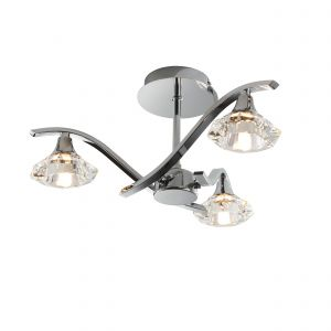Langella 3lt Semi flush Polished Chrome IP20 Modern Ceiling Lights