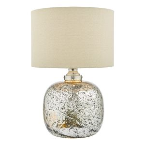 Lava 2 Light E27 Polished Nickel Table Lamp Volcanic Glass C/W Natural Linen Drum Shade