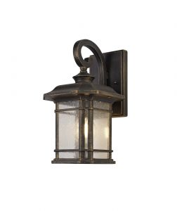 Nu Lefton Small Wall Lamp, 1 x E27, Brushed Black Gold/Seeded Glass, IP54, 2yrs Warranty