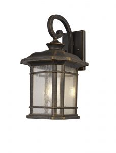 Nu Lefton Large Wall Lamp, 1 x E27, Brushed Black Gold/Seeded Glass, IP54, 2yrs Warranty