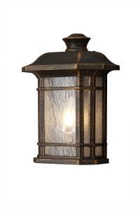 Nu Lefton Half Wall Lamp, 1 x E27, Brushed Black Gold/Seeded Glass, IP54, 2yrs Warranty