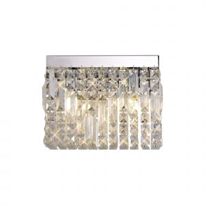 Nu Lit 29x13cm Rectangular Small Wall Lamp, 2 Light E14, Polished Chrome/Crystal