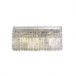 Nu Lit 50x24cm Rectangular Large Wall Lamp, 3 Light E14, Polished Chrome/Crystal