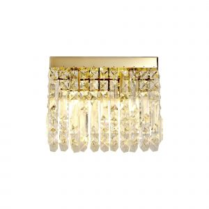 Nu Lit 29x13cm Rectangular Small Wall Lamp, 2 Light E14, Gold/Crystal