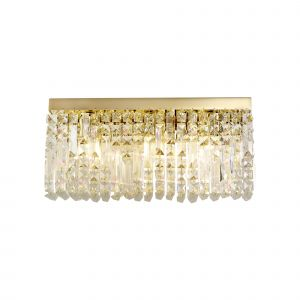 Nu Lit 50x24cm Rectangular Large Wall Lamp, 3 Light E14, Gold/Crystal