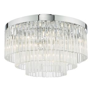 Logan 5 Light G9 Polished Chrome Flush Ceiling Light With Clear Crystal