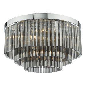 Logan 5 Light G9 Polished Chrome Flush Ceiling Light With Smoked Clear Crystal