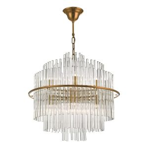 Dar LUK1735 Lukas 13 Light Pendant Brushed Antique Gold And Glear Glass Finish