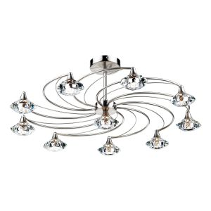DAR LUT2346 Luther 10 Light Semi Flush Satin Chrome/Crystal Finish
