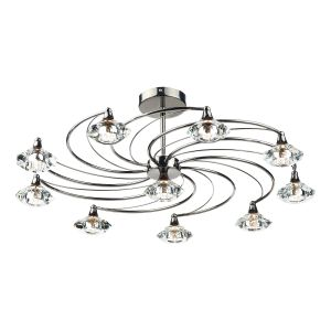 DAR LUT2367 Luther 10 Light Semi Flush Black Chrome/Crystal Finish