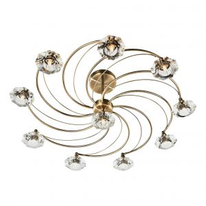 DAR LUT2375 Luther 10 Light Semi Flush Antique Brass/Crystal Finish