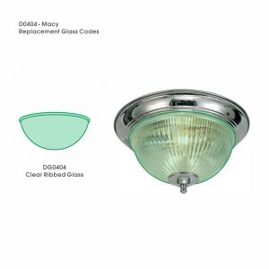 Deco DG0404 Macy Replacement Clear Ribbed Glass For D0404, D0405, D0406