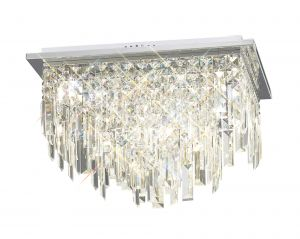 Diyas IL30252 Maddison Ceiling Square 6 Light Polished Chrome/Crystal