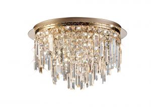 Diyas IL31711 Maddison Ceiling Round 6 Light G9 Rose Gold/Crystal