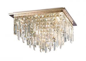Diyas IL31712 Maddison Ceiling Square 6 Light G9 Rose Gold/Crystal