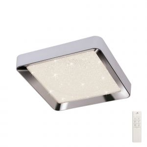Male Flush 65cm Square 40W LED 3000-6500K Tuneable, 3200lm, Remote Control Chrome/Acrylic, 3yrs Warranty