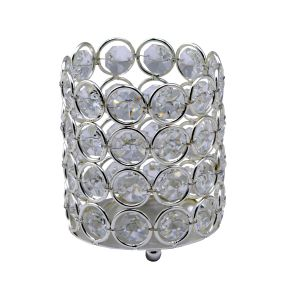 Diyas Home IL70020 (DH) Malo Small Cylinder Crystal Candle Holder