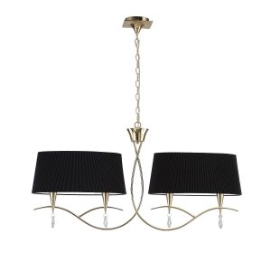 Mantra M1642FG/BS Mara Linear Linear Pendant 2 Arm 4 Light E14, French Gold With Black Shades