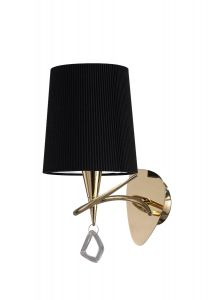Mantra M1647FG/S/BS Mara Wall Lamp Switched 1 Light E14, French Gold With Black Shade
