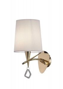 Mantra M1647FG/S Mara Wall Lamp Switched 1 Light E14, French Gold With Ivory White Shade