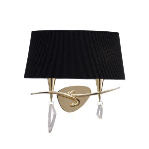 Mantra M1648FG/S/BS Mara Wall Lamp Switched 2 Light E14, French Gold With Black Shade