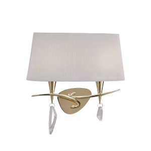 Mantra M1648FG/S Mara Wall Lamp Switched 2 Light E14, French Gold With Ivory White Shade