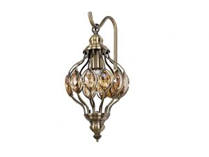 Diyas IL31573 Marisa Wall Lamp 1 Light E27 Antique Brass/Amber Crystal