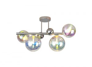 Nu Marlborough 4 Light Semi-Flush Pendant. Polished Chrome / Iridescent Finish.