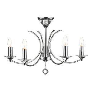 DAR MED0550 Medusa 5 Light Semi Flush Polished Chrome/Crystal Finish