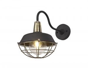 Nu Menos Wall Lamp, 1 Light E27, IP65, Matt Black/Brushed Bronze, 2yrs Warranty
