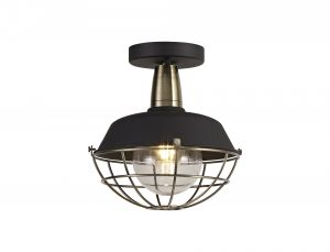 Nu Menos Semi-Flush Ceiling, 1 Light E27, IP65, Matt Black/Brushed Bronze, 2yrs Warranty