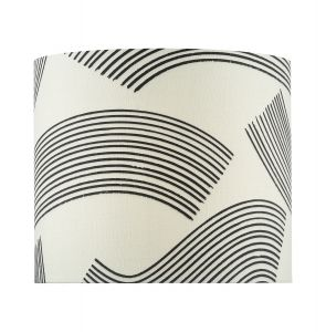 Miho 1 Light E27 Ccrain And Black Patterned Linen Cylinder Shade 34cm