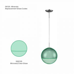 Deco DG0125 Miranda Mirrored/Clear Replacement Glass For D0125