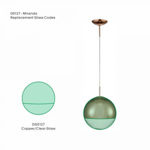 Deco DG0127 Miranda Bronze/Clear Replacement Glass For D0127
