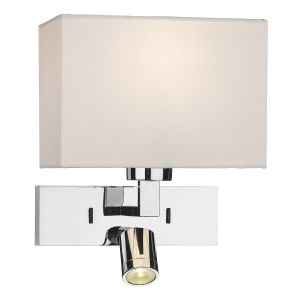 DAR MOD7150L Modena Double LED Wall Light (Base Only) Polished Chrome Finish Switched