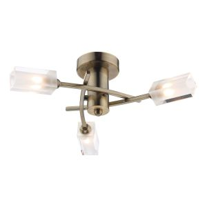 DAR MOR0375 Morgan 3 Light Semi Flush Antique Brass/Clear Glass Finish