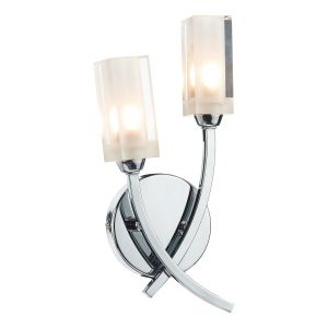DAR MOR0950 Morgan Double Wall Light Polished Chrome/Clear Glass Finish